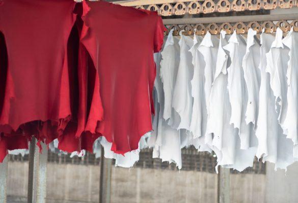 Lavorazione pelli di agnello step riconcia e tintura: asciugatura